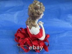 Vintage Rare Antique German Porcelain Pin Cushion Half Doll, arms & hands away