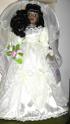 Vintage Rare Bisque Porcelain Collectible African American Bride Black Doll