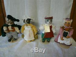 Vintage Set 13 Franklin Mint Colonial Cat Collection Porcelain Dolls Cats