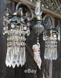 Vintage Spelter brass SWAG lamp Chandelier Bisque Doll porcelain Heubach Insp