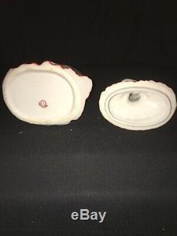 Vintage Vanity Powder Jar Lady Victorian Porcelain Figurine Art Deco Half Doll