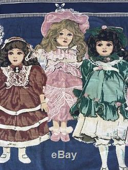 Vintage Victorian Porcelain Doll Girls Woven Tapestry Throw Blanket with fringe