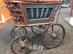 Vintage Victorian STYLE Metal And Wooden Dolls Pram With Porcelain Doll