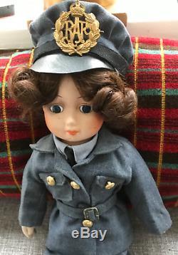 Vintage WW2 WAAF RAF large Doll, full uniform, original Home Front toy, Unique