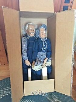 Vintage William Wallace Grandma and Grandpa Porcelain Dolls With Original Box