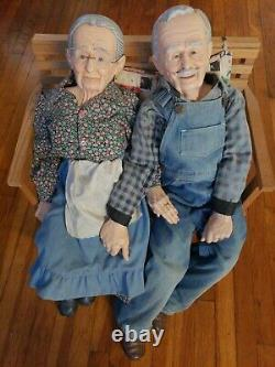 Vintage William Wallace Jr. Grandma And Grandpa Porcelain Dolls with Bench