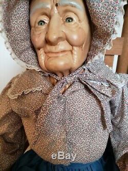 Vintage William Wallace Jr. Porcelain Grandma & Grandpa Dolls + Rocking Chairs