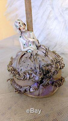 Vintage, art-deco, millinary hatstand / pin-cushion with half doll, hat display