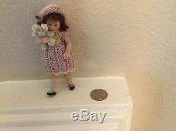 Vintage beautiful Porcelain Miniature Doll 3.2 Tall Jointed