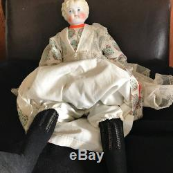 Vintage blonde doll with porcelain shoulder/head & cloth body, legs, arms, hands