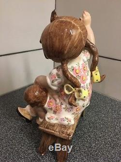 Vintage by Tiziano Galli Porcelain Figurine A Girl Spanking Doll. Rare Italy