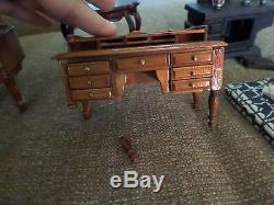 Vintage dollhouse furniture lot with 2 porcelain dolls colonial