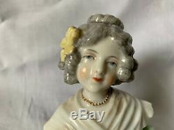 Vintage half doll with bouquet of flowers porcelain Dressel Kister