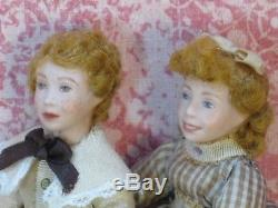 Virginia Davis Orenyo Vintage Pair of Sibling Dolls Artisan Dollhouse Miniature