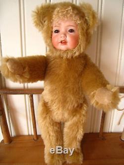 Vntg OOAK Mohair Porcelain Face Teddy Bear Doll Washington Artist Lyric Johnston