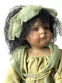 Vtg 2000 Linda Valentino Michel Porcelain African American Doll Marked Angel