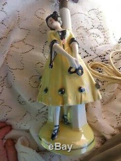 Vtg Art Deco Porcelain Germany Lady Harlequin Dresser Doll Figurine Boudoir Lamp