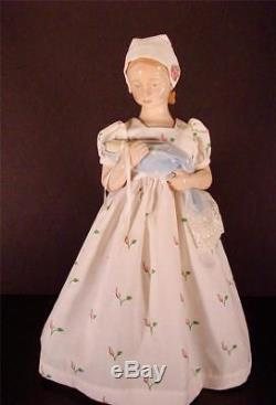 Vtg Bing & Grondahl B & G 14 Figurine Girl With Baby Doll Cloth Dress & Stand