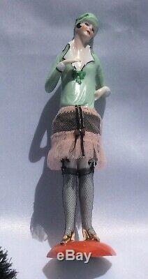 Vtg German Porcelain Flapper Half Doll with Legs Demi-Figurine Teepuppe ArtDeco