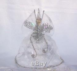 Vtg German Porcelain Half Doll Snowflake Fairy Dress Pincushion Collectible Doll