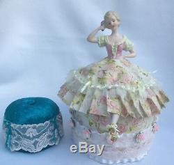 Vtg German Porcelain Half Doll with legs, Traditional German Dress Pincushion