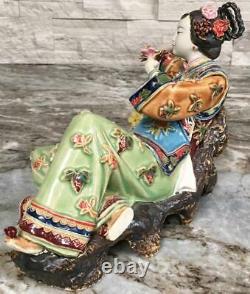 Vtg SIGNED Chinese pottery Figurine porcelain doll imperial Concubine Geisha