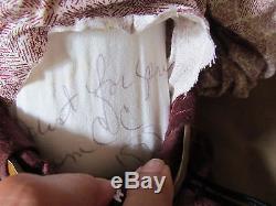 Western HORSE DOLL Figure SIGNED 1999 PORCELAIN CLOTH with 26 Wood Rocker VTG