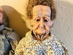 William L Wallace Jr Grandma & Grandpa Porcelain Dolls 23 Vintage Excellent