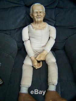 William L Wallace Old Grandpa Man Doll Porcelain Cloth Vintage Signed