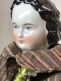 13 Antique Porcelaine Allemande Fait De La Chine Head & Limbs Earlyflat Top Coiffure #sa