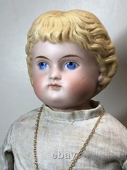 14 Antique Porcelaine Allemande Fait De La Chine Tête Kling Blonde Parian Painted Visage #un