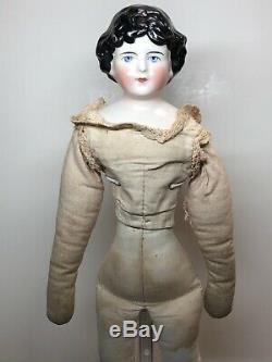 14 Antique Porcelaine Kling Allemande Chine Head Doll Black Hair 176-z Tissu Du Corps L