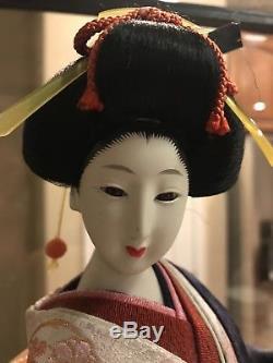 16.5 Poupée De Geisha Japonaise En Porcelaine À Collectionner Vintage En Kimono Avec Shamisen