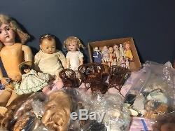 168 Pc Lot Vintage & Antique Dolls & Accessoires Porcelaine Handwerck Marseille