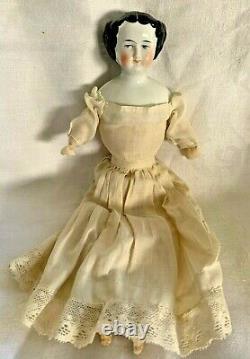 1860 1870 Porcelaine Head Doll Cloth Body Black Hair Blue Eye Beauty Antique Pink