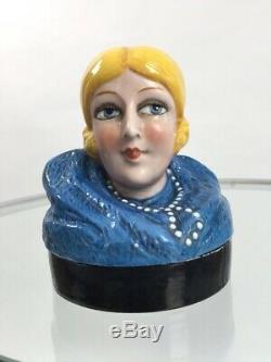 1920 Bol De Poudre Céramique Dame Garçonne Cru Antique Moitié Poupée Originale
