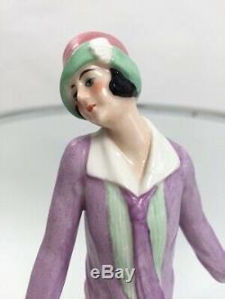 1920 Bol En Poudre De Céramique Art Déco Fille Garçonne Poupée Vintage Moitié Antique