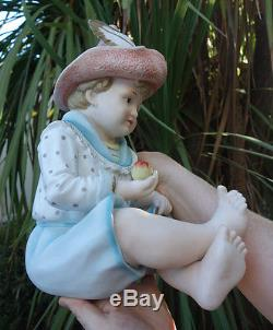 1o2 Lg Vintage Bisque Porcelaine Bébé Piano Figurine Garçon Poupée Allemand Peint À La Main
