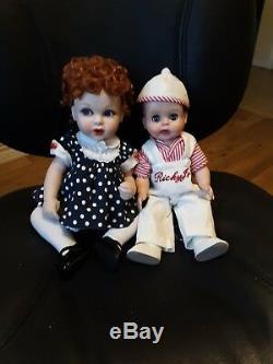 2 Poupées Rares Vintage I Love Lucy, Portrait Porcelaine Lucy + Ricky Jr