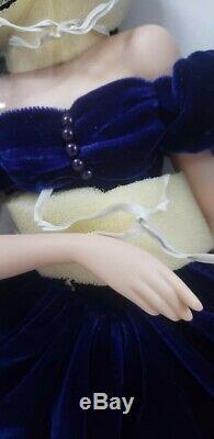23. Porcelaine / Tissu Franklin Mint Scarlett Poupée Robe Bleue Autant En Emporte Le Vent