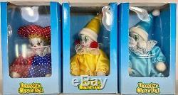 3 Vintage Clown Poupées De Porcelaine Boîte Originale