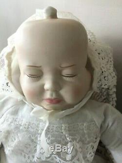 3 Visages De Poupée En Porcelaine Eve Vintage Rare Happy Sad Dormir Avec Panier 21