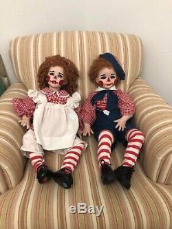 32 Poupées Clowns Vintage En Porcelaine Ann And Andy