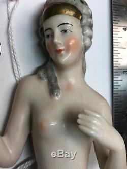 4.5 Antique Allemand Porcelaine Moitié 1/2 Poupée Nue Belle Or Coiffe #cc