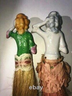 5 Antique Porcelaine Demi-poupée Vanity Brosse Et Balai Fouet Pin Coussin