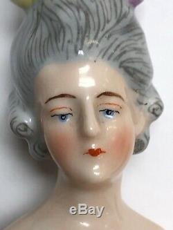 5 German Antique Porcelaine Moitié 1/2 Poupée Goebel Gris Plumes Cheveux Dans Les Cheveux #se