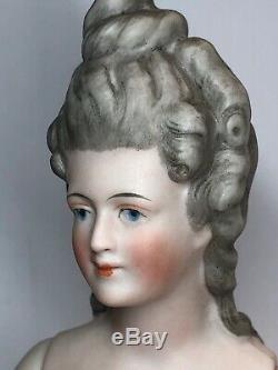 5 La Moitié Porcelaine Allemande Antique Cheveux Gris 1/2 Poupée Nue # 3580 Articulé Arms #cc