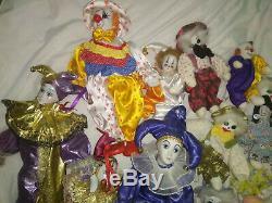 54 Sable Collection Vintage Porcelaine Clown En Peluche Poupée Farceur Énorme Collection