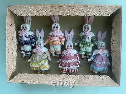 6 Poupées Anciennes En Porcelaine Dans La Boîte Originale Kühnlenz Frères-bunnys