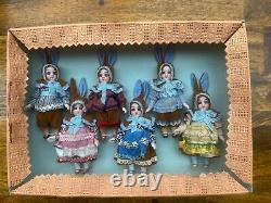 6 Poupées Antiques En Porcelaine Dans La Boîte Originale Kühnlenz Brothers-bunnys